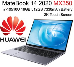 Discount 16gb ram laptop i7 High-end HUAWEI MateBook 14 2020 Laptop PC with i7-10510U NVIDIA MX350 DDR5 GPU 16GB Ram 512GB SSD 2K Touch Screen Big B