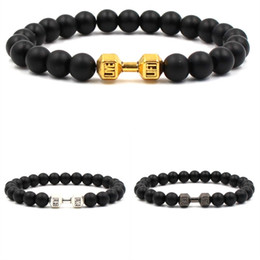 Dumbbells for women online shopping - 3 Colors Natural Stone mm Black Matte Stone Beaded Dumbbell Bracelets DIY Antique Gold Silver Women For Men Sports Bracelets Jewelry M485A
