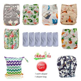 aio diapers UK - Ohbabyka Waterproof Baby Pocket Diaper Washable Reusable Cloth Diapers Baby Nappy 6pcs+6pcs Microfiber Inserts+1Free Diaper Bag CJ191217