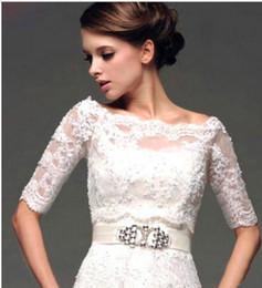 $enCountryForm.capitalKeyWord Australia - High end customization Plus Size Lace Up Back Half Sleeves Lace Bridal Shrugs Boleros Jackets Wedding Coat Custom Made Wedding Boleros