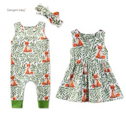 $enCountryForm.capitalKeyWord Australia - Baby Girls Jumpsuit Set Infant Baby Fox Animal Leaves Printed Jumpsuit Onesies Toddler Girl Floral Sleeveless Dress With Headband