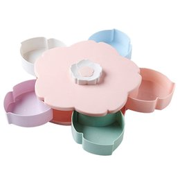 wire card box Australia - Petal-Shape Rotating Snack Box Candy Tray Food Storage Box Wedding Candy Plates Double-Deck Dried Fruit Organizer Storage