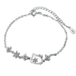Fish Crystal Australia - Fashion Cat Bracelet Popular Katie Cat Bracelet Crystal Flower Bracelet & Bangle for Women Silver Chain Adjustable Bracelets Gift