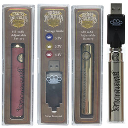 Good atomizer online shopping - Hot Sale Brass Knuckles Battery mAh Good Wooden Silver Vape Pen Preheat VV Variable Voltage Batteries Thread Thick Oil Tank Atomizer