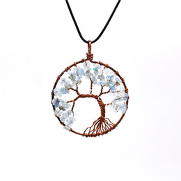 Wire Crystal Tree Australia - 10Pcs Copper Wire Wrapped Tree of Wisdom Pendant Amethyst Aquamarine Rutilated Quartz Crystal Necklace Tumbled Gemstone Chips Chakra Jewelry