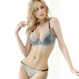 saw types NZ - 3 Colors Big Size Women Sexy Lace Thin Demi Half Cup Removable Belts See Through Underwire Brief Bra Sets Type Underwear Lingerie Set ne1