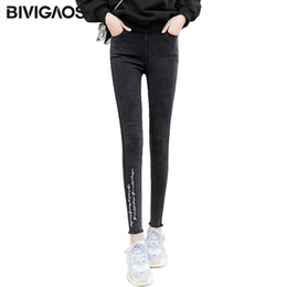 embroidered leggings UK - BIVIGAOS Spring New 2018 Burrs Legs Embroidered Letters Washed Jeans Leggings Skinny Jeggings Slim Woven Pencil Pants For Women S19713