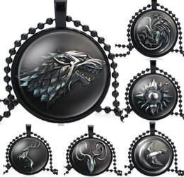 $enCountryForm.capitalKeyWord Australia - Game of Thrones Theme Necklace House Strek Lannister Targaryen Dragn Wolf Lion Sign Pendant Glass Cabochon Necklace fashion Jewelry HYS413