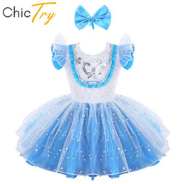 girls ballet tutu sequin NZ - ChicTry Kids Girls Sequins Flutter Sleeve Bowknot Tutu Ballet Dress with Hair Clip Outfit Modern Stage Performance Dance Costume