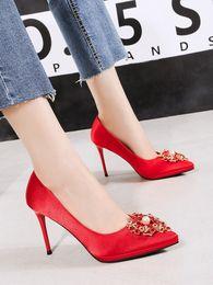 $enCountryForm.capitalKeyWord Australia - Hot2019 Buckle Square Autumn Red Wedding Silks And Satins High-heeled Shoes Fine With Joker Sharp Waterproof Platform Women's Singles Shoe