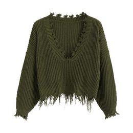 d1d600e5d71e4e white cropped sweater 2019 - Kenancy Women Ripped V Neck Loose Sweater Full  Sleeve Tassel Crop