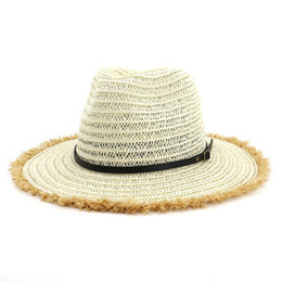 90241dba Summer Paper Straw British Jazz Cap Hat Flat Brim Panama Style Beach Sun  Hats Unisex Women Sunshade Cap Belt Buckle Cowboy Hat