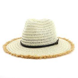 d6ed6d114d35d Summer Paper Straw British Jazz Cap Hat Flat Brim Panama Style Beach Sun  Hats Unisex Women Sunshade Cap Belt Buckle Cowboy Hat