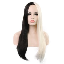Hot Sale Wig Fashion Lady Long Straight Hair Mix Color Wig Chemical High Temperature Silk Balck and White