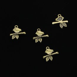 antique branch pendant Australia - 250pcs Charms bird standing branch Antique Bronze Plated Pendants Fit Jewelry Making Findings Accessories 17*16mm
