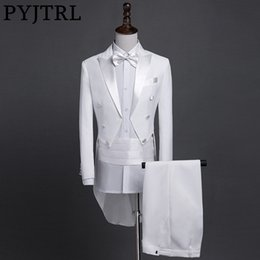 Tail coaT suiTs online shopping - PYJTRL New Plus Size S XL Mens Classic Black White Shiny Lapel Tail Coat Tuxedo Wedding Groom Stage Singer Four Piece Suit Y191115