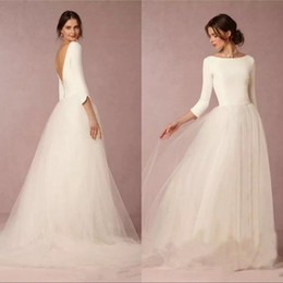 Color wedding dress designers online shopping - Cheap Modest Wedding Dresses A Line Top Backless Bridal Gowns with Long Sleeves Simple Designer Tulle Skirt Sweep Train