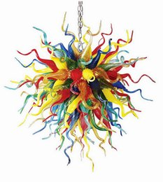 Discount handmade decorations for room Hotel Decoration Handmade Blown Colored Glass Chandelier Light Chihuly Style Art Designed Murano Glass Pendant Lamps for Sale