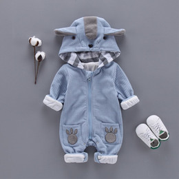 Baby Boy Winter Jumpers Australia - Newbrown Autumn & Winter Newborn Infant Clothes Jumper Boys Romper Hooded Jumpsuit Outfits Baby Bebe Menino Macacao Q190520