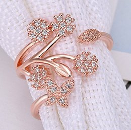 Gold Wholesalers China Australia - Korean Twisted Leaves Flower Rhinestone Open Ring Rose Gold Color Finger Ring For Women Statement Adjustable Ring Wholesale