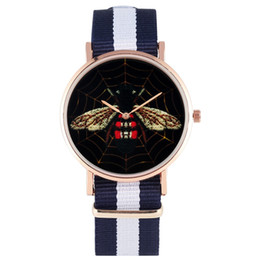 Rose golden watches online shopping - Classic Nylon Band with Pin Buckle Watch Ladies Luxury Black Bee Pattern Watches for Women Fashion Rose Golden Case Quartz Wristwatch