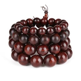 sandalwood rosary NZ - natural red sandalwood round fragrance wood wooden beads standard bracelets for man buddhism rosary prayer beads jewelry