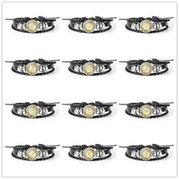 Design Genuine Leather NZ - 2019 Creative Design 12 Constellations Zodiac Time Gem Glass Cabochon Genuine Black Leather Rope Beaded Women Men Bracelet Lady Female Gifts