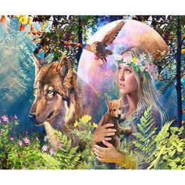 $enCountryForm.capitalKeyWord Australia - wholesale 5d Diamond Painting Girl Wolf Eagle Round Diamond Mosaic Picture Stitch Embroidery Pattern Embroidery Children Gift