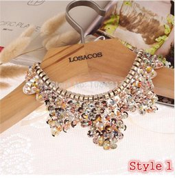 $enCountryForm.capitalKeyWord UK - Hot sell Fashion women crystal multicolor flowers beads gold chain Ribbon Fake collar Choker Necklaces 12 Styles choose