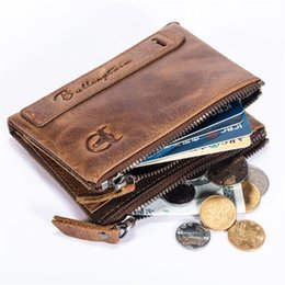 Leather Notecase NZ - Vintage Genuine Leather Wallet Card Holder 2 Zipper Pockets Coin Purse Short Wallet For Men Pouch Notecase Brown