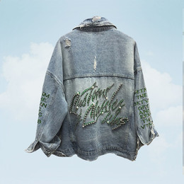 industry jackets NZ - 2019 Spring Autumn Jean Jacket Female Heavy Industry Beads Embroidery Denim Coats Outwear Women Loose Hole Cowboy Coat Mujer 360