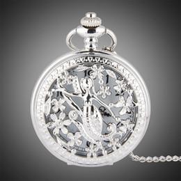 Petal watch online shopping - TFO Pocket Watch Silver Hollow Petals Surround Dancing Mermaid Design Pendant Ladies Fashion Gift Necklace