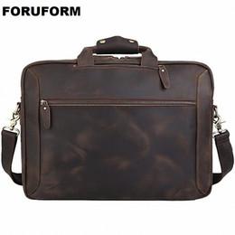 AttAche briefcAses online shopping - Men Crazy Horse Leather Antique Design Business Briefcase Laptop Document Case Fashion Attache Messenger Bag Tote