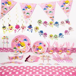 $enCountryForm.capitalKeyWord Australia - New Baby Shark theme party suit for children birthday cartoon baby shower tableware Pink Table Cloth Decoration Party Supplies 30pcs