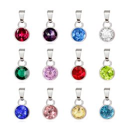 $enCountryForm.capitalKeyWord Australia - 120pcs lot silver round 12.12*8.89mm birthstone birthday stones pendant with clasp fit for necklace 12 colors each color 10pcs free shippin