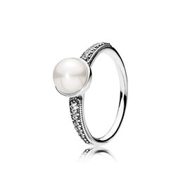 Pearl rings Prongs online shopping - White Pearl Clear CZ Elegant Beauty Ring Original Box for Pandora Sterling Silver engagement Wedding Rings for women
