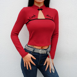 t shirt s m l Canada - 2019Spring New Women's Long sleeve T-shirt crop-top Short Hot Embroidery Chinese Style long sleeve T-shirt for women Red S M L