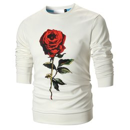 White Rose Pattern Australia - Rose Prinetd Sweatshirts Mens Fashion Crew Neck Pullovers Roses Patterns Black and White Floral Tops M - 3XL