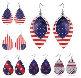 Earring Wholesalers Usa Australia - American Flag Pu Leather Earrings Red and White Stripes and Blue Stars USA Flag Leaves Teardrop and Round Shape Leather Statement Earrings