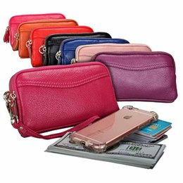 Discount chain style designer clutch - 6.9 Inches Long Brand Card Woman Designer Luxury Purses Bags, Coin Double Zipper Purse,Real Leather Clutch