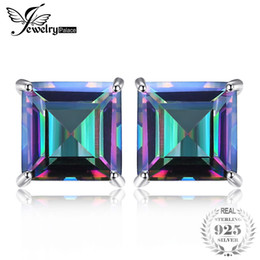 Mystic topaz stones online shopping - Square ct Natural Mystic Rainbow Topaz Earrings Stud For Girl Genuine Real Solid Sterling Silver Gem Stone Jewelry NEW