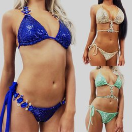 Glitter pieces online shopping - Sequins Swimwears Glitter Bikinis Set Gold Green Blue Ladies Two Piece Suits Colors Mix Popular lp F1