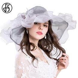 $enCountryForm.capitalKeyWord Australia - Fs Vintage Kentucky Derby Hats For Women Summer Beach Big Flower Organza Sun Hat Foldable Wide Brim Fedora Chapeu Feminino Y19070503