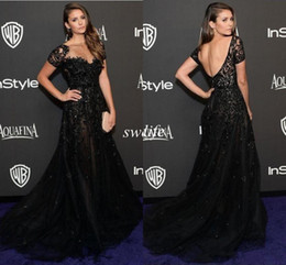 $enCountryForm.capitalKeyWord Australia - Elie Saab Evening Dresses Short Sleeve Illusion Neckline Beading Black Nina Dobrev Golden Red Carpet Celebrity Dress Prom Gowns 2019