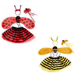 $enCountryForm.capitalKeyWord Canada - 4 Pcs set Halloween Christmas Bee Ladybug Children's Costumes Cute Girls Party Fancy Dress Cosplay Wings + Tutu Skirts VVA446