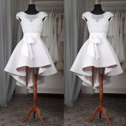 One piece dresses knee length cOcktail online shopping - White High Low Cocktail Prom Dresses For Women Sexy Cap Sleeve Sheer Lace Graduation Party Gowns Girls Homecoming Dress