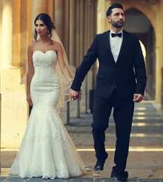 $enCountryForm.capitalKeyWord Australia - 2019 Arabic Mermaid Wedding Dress Sweetheart Neckline Sleeveless Lace Appliques Bridal Gowns Corset Back Vestido Plus Size