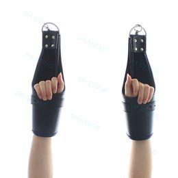 Leather Wrist Gloves Australia - Leather hanging Lockable Mittens Locking Wrist Handcuffs Fetish Gloves Costume A87