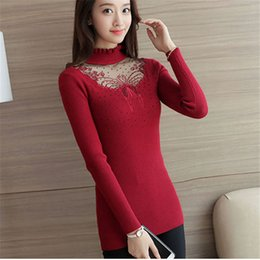 $enCountryForm.capitalKeyWord Australia - Autumn Winter Sweaters Women Burgundy Embroidery Lace Hollow Pullovers Slim Knitted Slim-fit tight Sweater Female Tops
