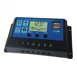 Solar Panels 12 Australia - 10 20 30A Dual USB Solar Panel Battery Regulator Charge Controller 12 24V